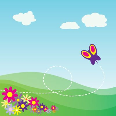 StudioFibonacci Cartoon Hillside with Butterfly and Flowers